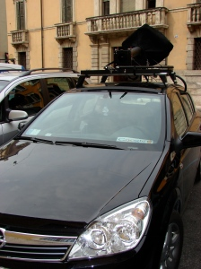 Little, black Google Maps car
