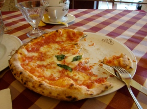 A simple cheese pizza, but very good